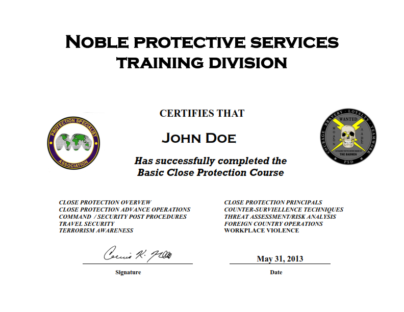 Nps New Online Close Protection Course Noble Protective Services
